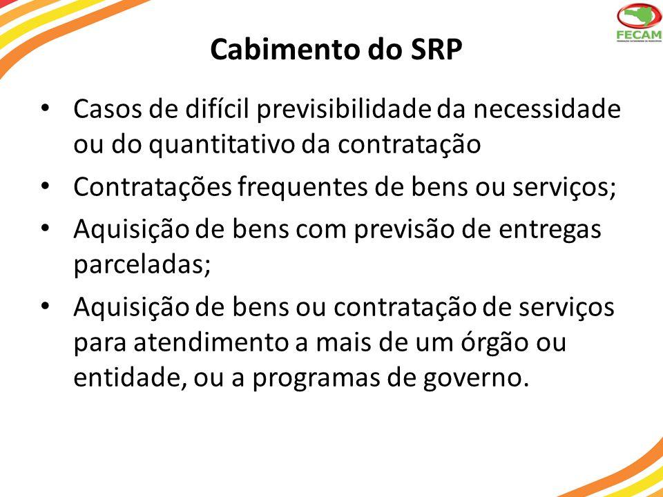 Cabimento do SRP Casos de difícil previsibilidade da necessidade ou do quantitativo da contratação Contratações frequentes de bens ou serviços; Aquisi