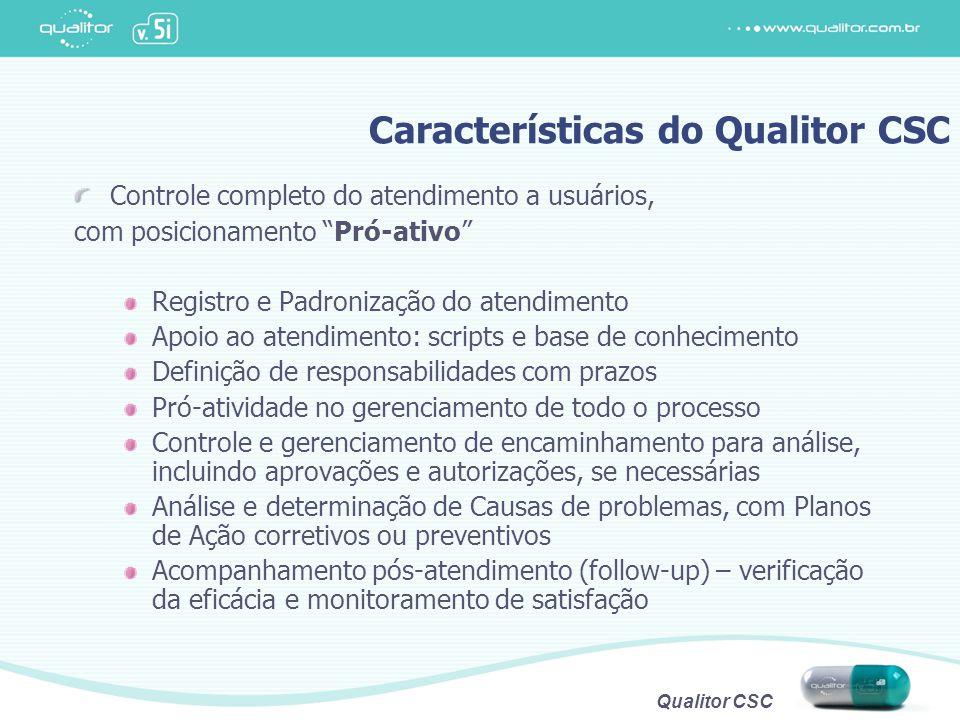 """Qualitor CSC Controle completo do atendimento a usuários, com posicionamento """"Pró-ativo"""" Registro e Padronização do atendimento Apoio ao atendimento:"""