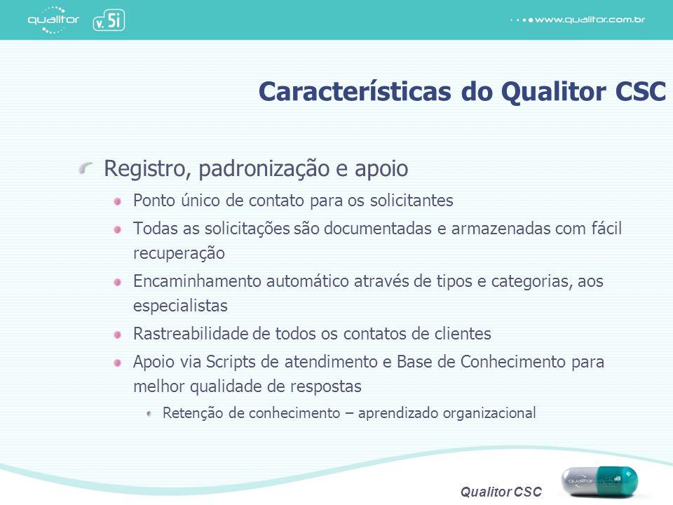 Qualitor CSC Características do Qualitor CSC Registro, padronização e apoio Ponto único de contato para os solicitantes Todas as solicitações são docu
