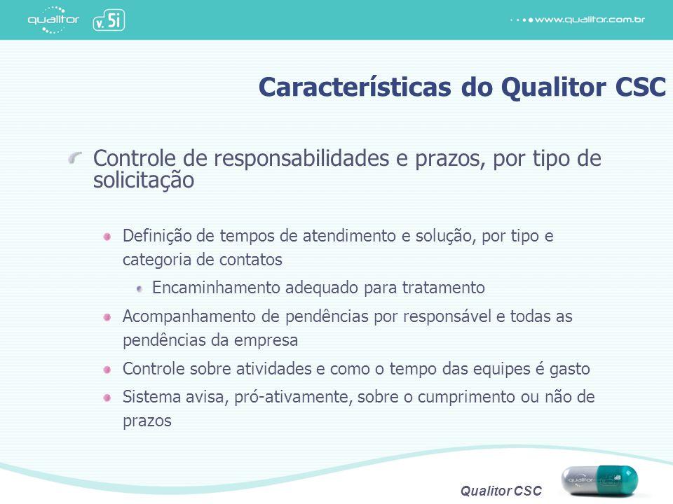 Qualitor CSC Controle de responsabilidades e prazos, por tipo de solicitação Definição de tempos de atendimento e solução, por tipo e categoria de con