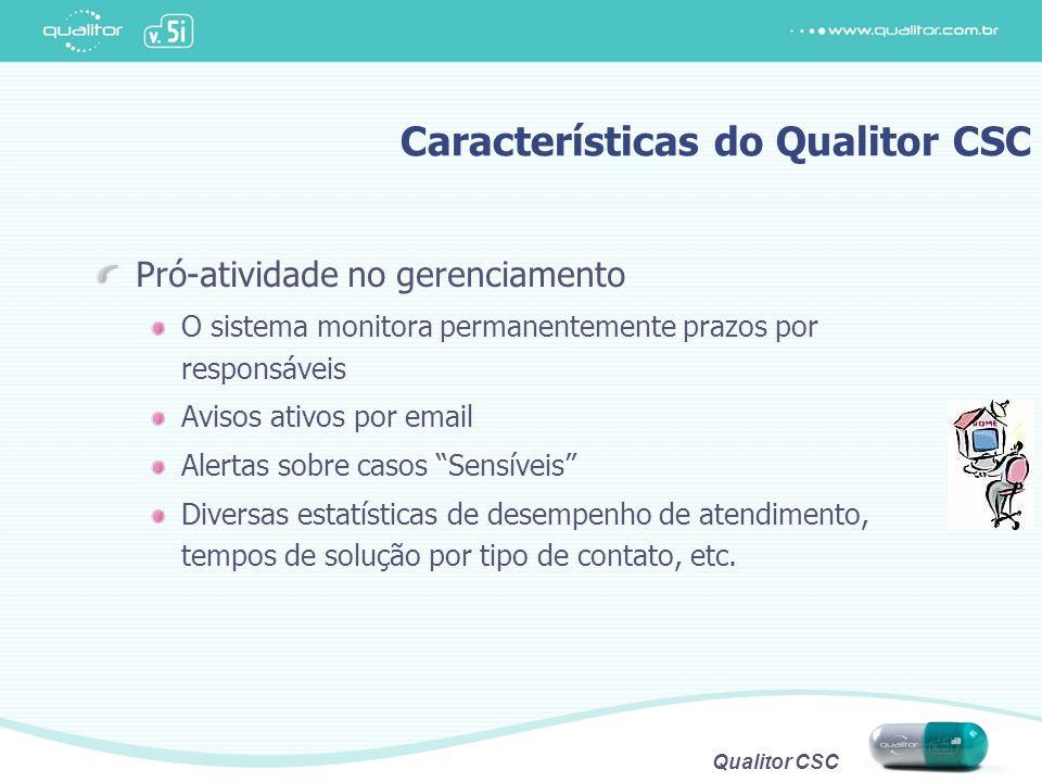 """Qualitor CSC Pró-atividade no gerenciamento O sistema monitora permanentemente prazos por responsáveis Avisos ativos por email Alertas sobre casos """"Se"""