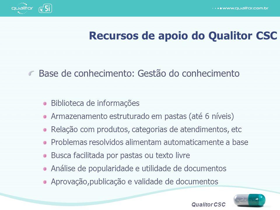 Qualitor CSC Recursos de apoio do Qualitor CSC Base de conhecimento: Gestão do conhecimento Biblioteca de informações Armazenamento estruturado em pas