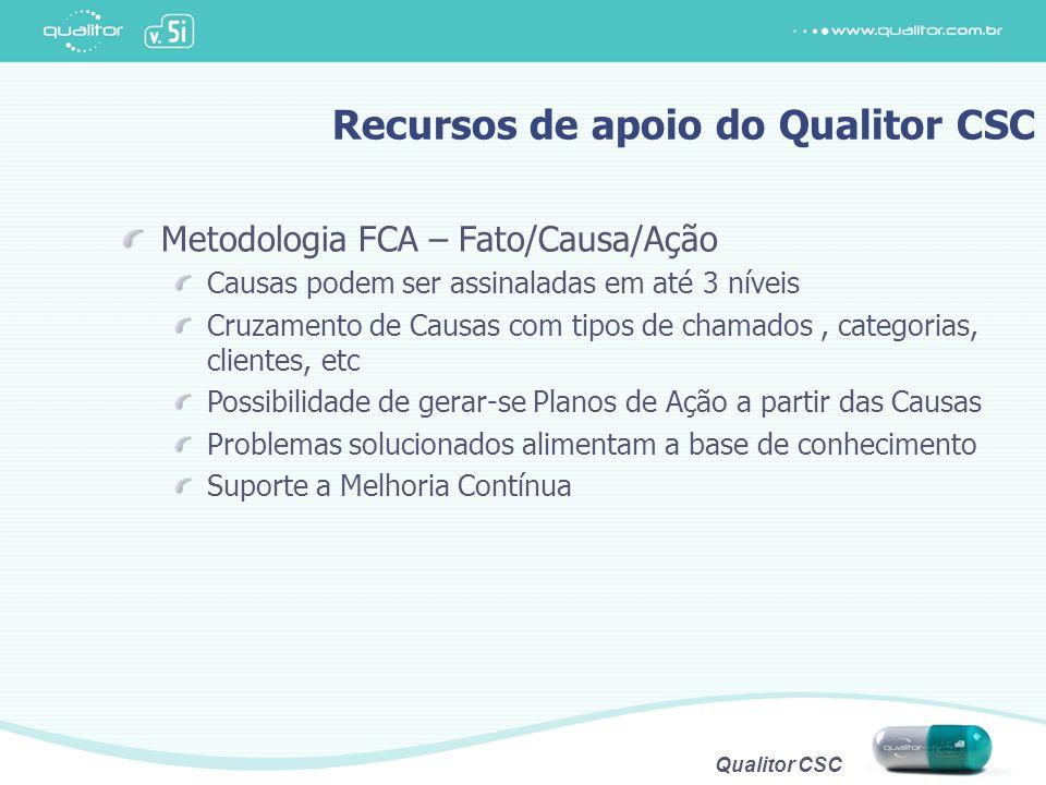 Qualitor CSC Recursos de apoio do Qualitor CSC Metodologia FCA – Fato/Causa/Ação Causas podem ser assinaladas em até 3 níveis Cruzamento de Causas com