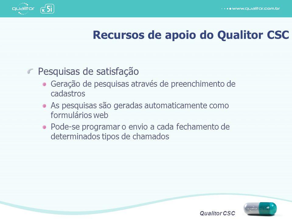 Qualitor CSC Recursos de apoio do Qualitor CSC Pesquisas de satisfação Geração de pesquisas através de preenchimento de cadastros As pesquisas são ger
