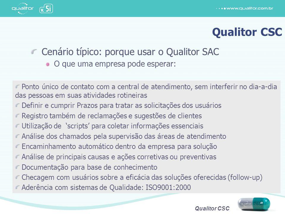 Qualitor CSC Cenário típico: porque usar o Qualitor SAC O que uma empresa pode esperar: Ponto único de contato com a central de atendimento, sem inter