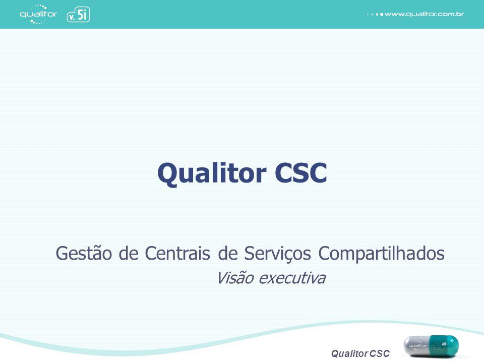 Qualitor CSC Centrais de Serviços Compartilhados O que são Áreas centralizadas que prestam serviços comuns a várias unidades consumidoras Criam e suportam a cultura de prestação de serviços Indicadas para empresas com...