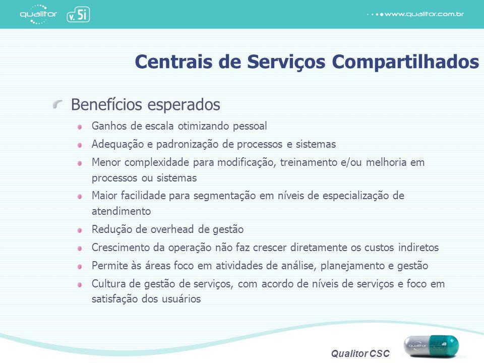 Qualitor CSC Centrais de Serviços Compartilhados Benefícios esperados Ganhos de escala otimizando pessoal Adequação e padronização de processos e sist