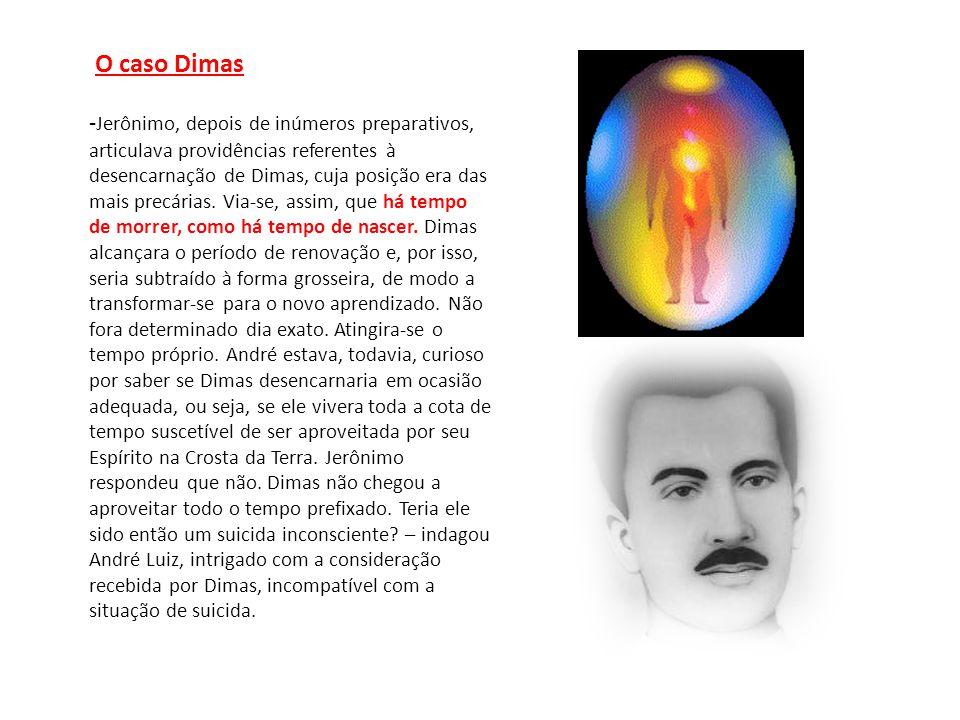 O caso Dimas - Jerônimo, depois de inúmeros preparativos, articulava providências referentes à desencarnação de Dimas, cuja posição era das mais precá