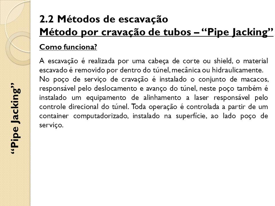 """2.2 Métodos de escavação Método por cravação de tubos – """"Pipe Jacking"""" Como funciona? A escavação é realizada por uma cabeça de corte ou shield, o mat"""