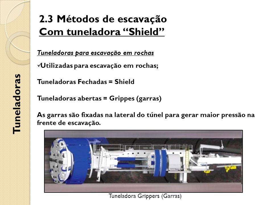 2.3 Métodos de escavação Com tuneladora Shield Tuneladoras Tuneladoras para escavação em rochas Utilizadas para escavação em rochas; Tuneladoras Fechadas = Shield Tuneladoras abertas = Grippes (garras) As garras são fixadas na lateral do túnel para gerar maior pressão na frente de escavação.