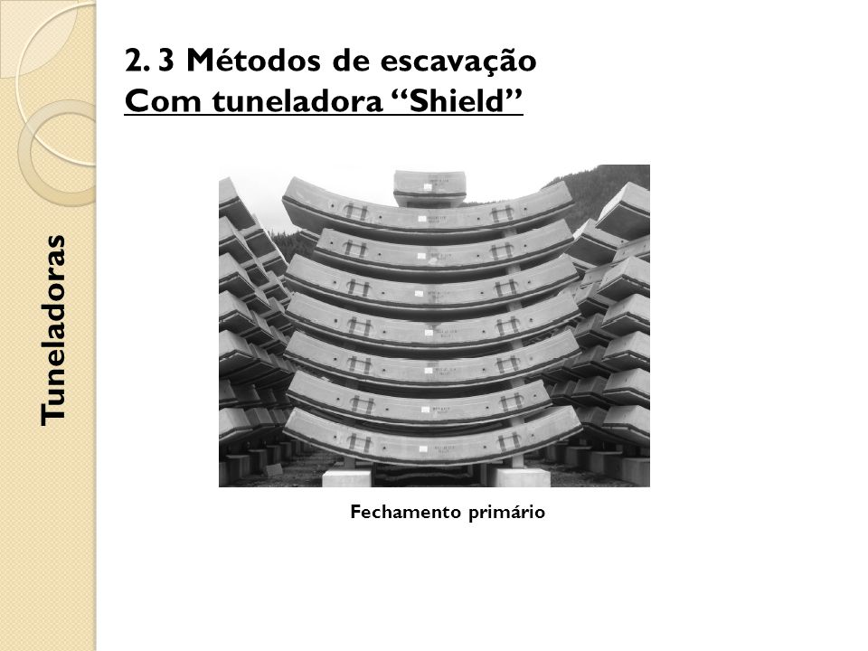 2. 3 Métodos de escavação Com tuneladora Shield Tuneladoras Fechamento primário