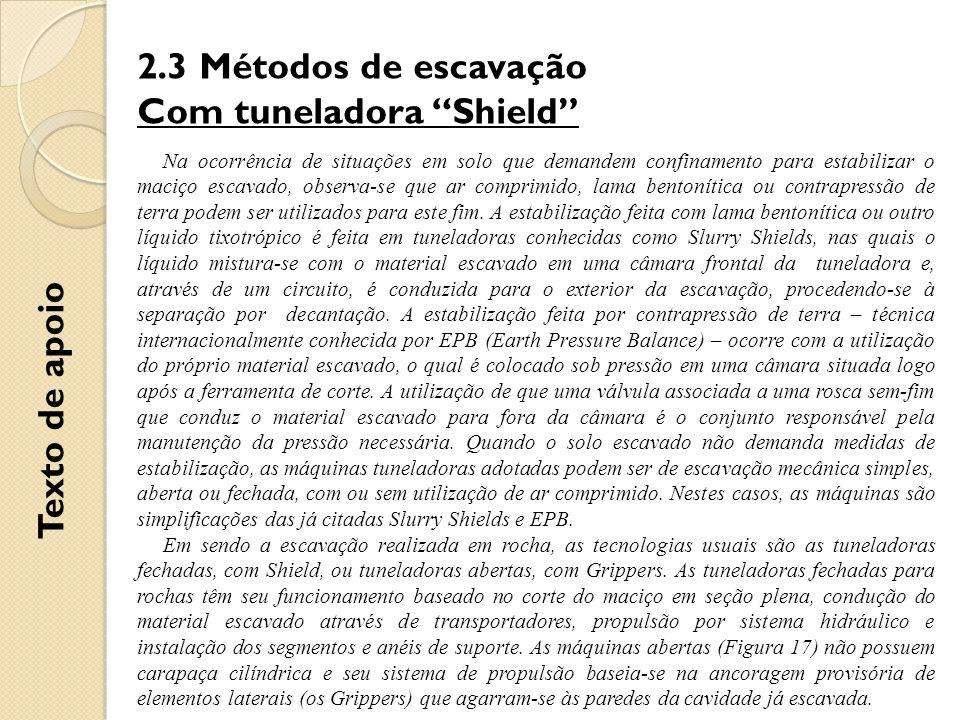 """2.3 Métodos de escavação Com tuneladora """"Shield"""" Na ocorrência de situações em solo que demandem confinamento para estabilizar o maciço escavado, obse"""