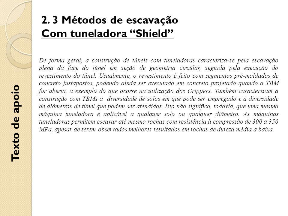 """2. 3 Métodos de escavação Com tuneladora """"Shield"""" De forma geral, a construção de túneis com tuneladoras caracteriza-se pela escavação plena da face d"""