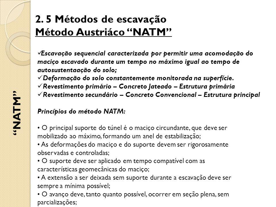 """2. 5 Métodos de escavação Método Austriáco """"NATM"""" """"NATM"""" Escavação sequencial caracterizada por permitir uma acomodação do maciço escavado durante um"""
