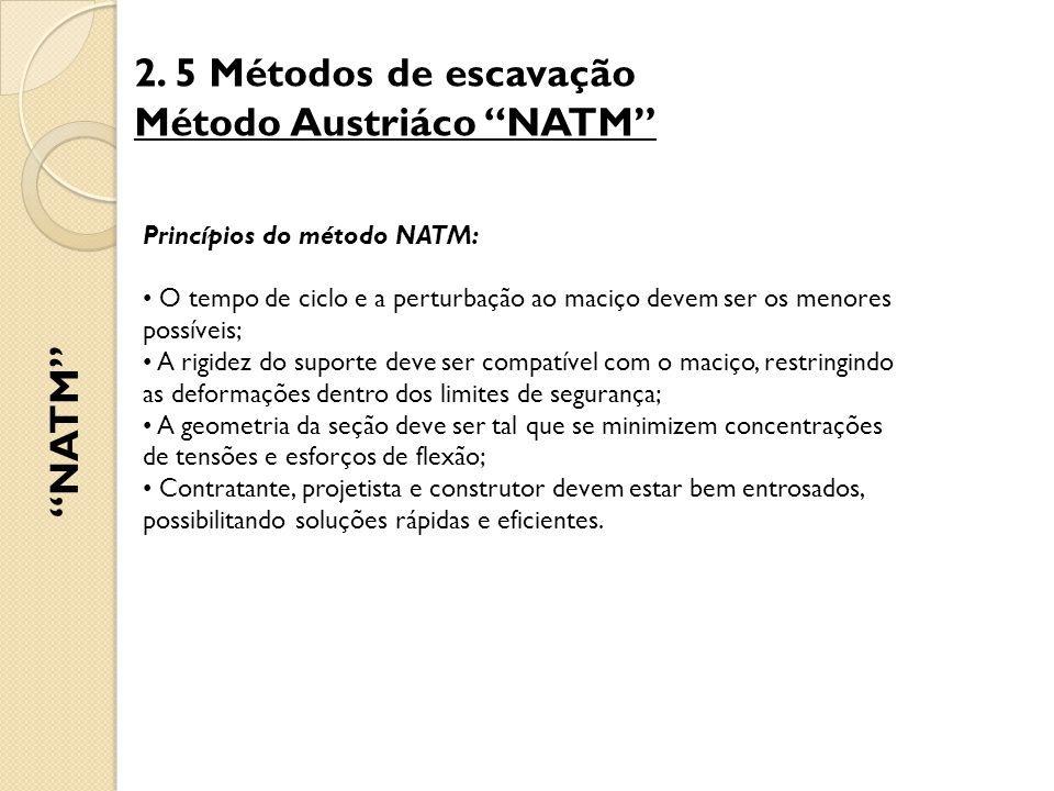 """2. 5 Métodos de escavação Método Austriáco """"NATM"""" """"NATM"""" Princípios do método NATM: O tempo de ciclo e a perturbação ao maciço devem ser os menores po"""