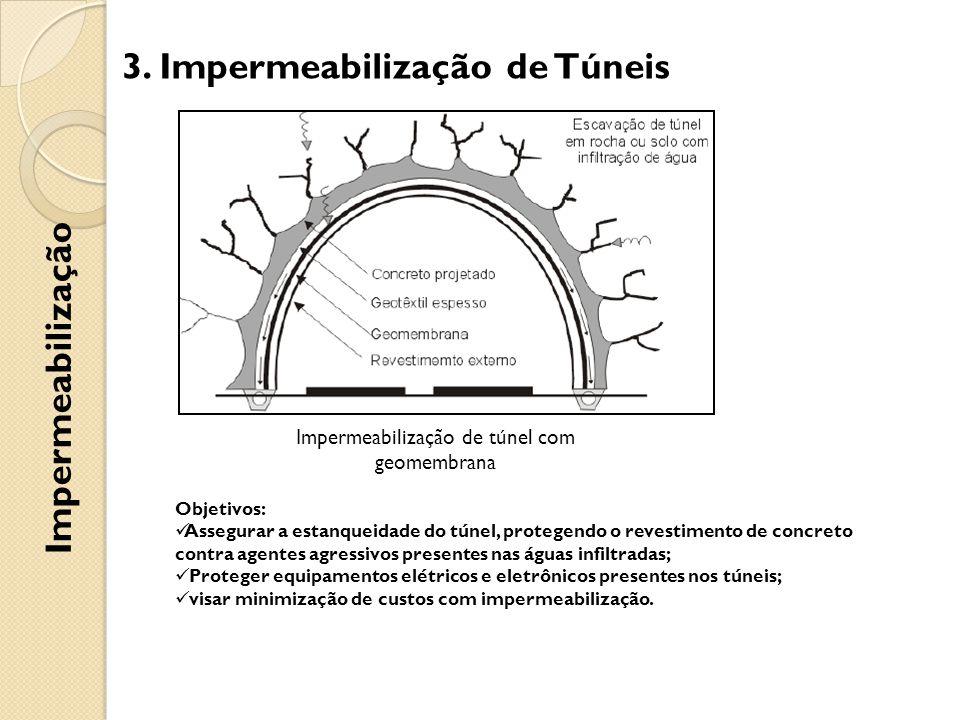 3. Impermeabilização de Túneis Impermeabilização Impermeabilização de túnel com geomembrana Objetivos: Assegurar a estanqueidade do túnel, protegendo