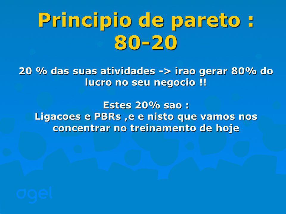 Principio de pareto : 80-20 20 % das suas atividades -> irao gerar 80% do lucro no seu negocio !.
