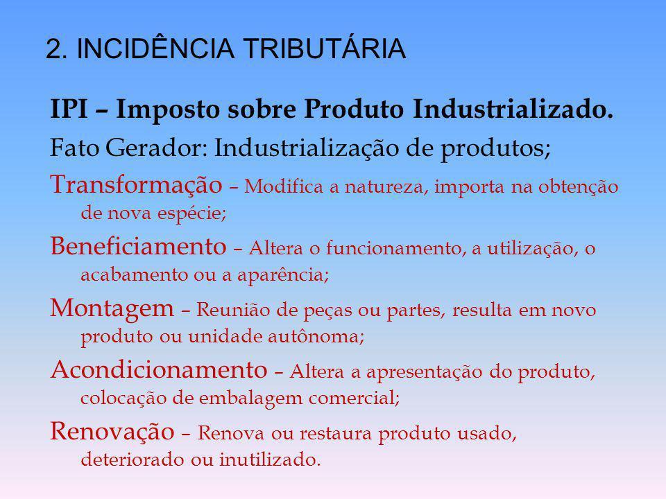 IPI – Imposto sobre Produto Industrializado. Fato Gerador: Industrialização de produtos; Transformação – Modifica a natureza, importa na obtenção de n