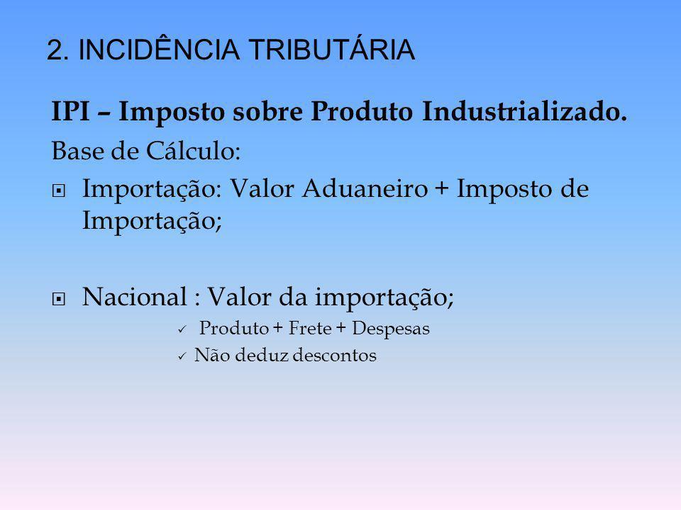 IPI – Imposto sobre Produto Industrializado. Base de Cálculo:  Importação: Valor Aduaneiro + Imposto de Importação;  Nacional : Valor da importação;