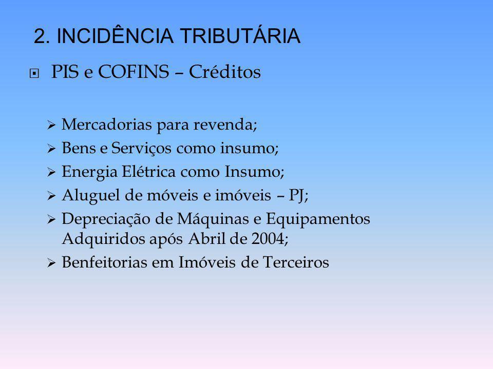  PIS e COFINS – Créditos  Mercadorias para revenda;  Bens e Serviços como insumo;  Energia Elétrica como Insumo;  Aluguel de móveis e imóveis – P