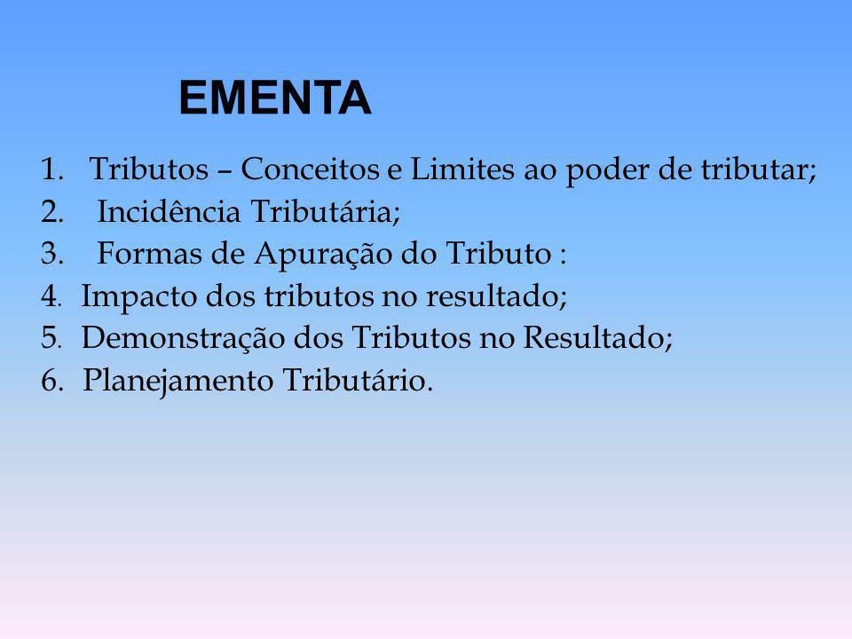 1. Tributos – Conceitos e Limites ao poder de tributar; 2. Incidência Tributária; 3. Formas de Apuração do Tributo : 4. Impacto dos tributos no result