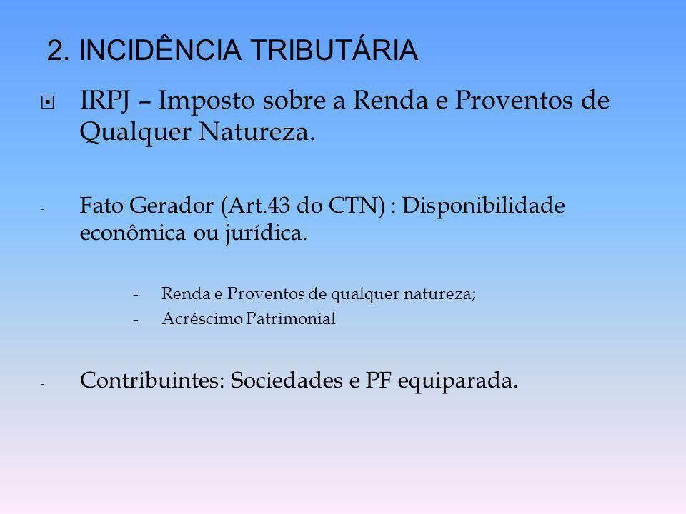  IRPJ – Imposto sobre a Renda e Proventos de Qualquer Natureza. - Fato Gerador (Art.43 do CTN) : Disponibilidade econômica ou jurídica. -Renda e Prov