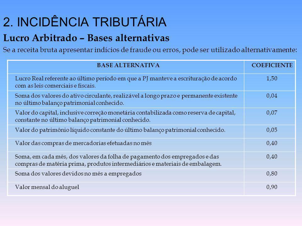 2. INCIDÊNCIA TRIBUTÁRIA Lucro Arbitrado – Bases alternativas Se a receita bruta apresentar indícios de fraude ou erros, pode ser utilizado alternativ