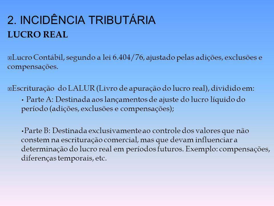 2. INCIDÊNCIA TRIBUTÁRIA LUCRO REAL  Lucro Contábil, segundo a lei 6.404/76, ajustado pelas adições, exclusões e compensações.  Escrituração do LALU