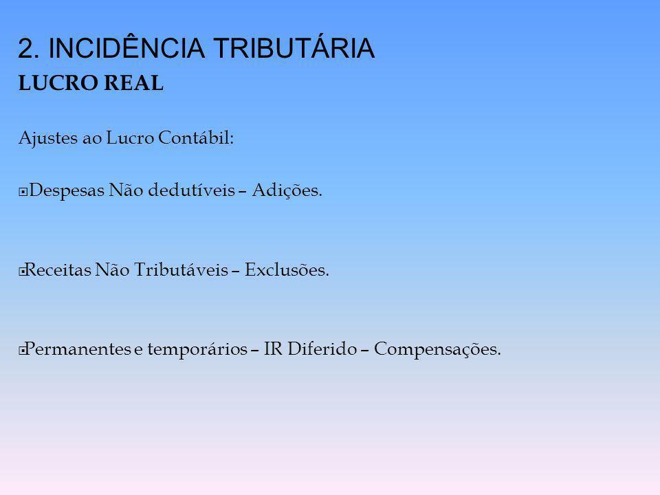 2. INCIDÊNCIA TRIBUTÁRIA LUCRO REAL Ajustes ao Lucro Contábil:  Despesas Não dedutíveis – Adições.  Receitas Não Tributáveis – Exclusões.  Permanen
