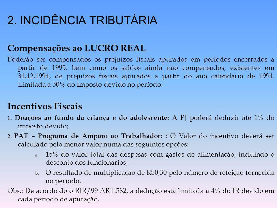 2. INCIDÊNCIA TRIBUTÁRIA Compensações ao LUCRO REAL Poderão ser compensados os prejuízos fiscais apurados em períodos encerrados a partir de 1995, bem