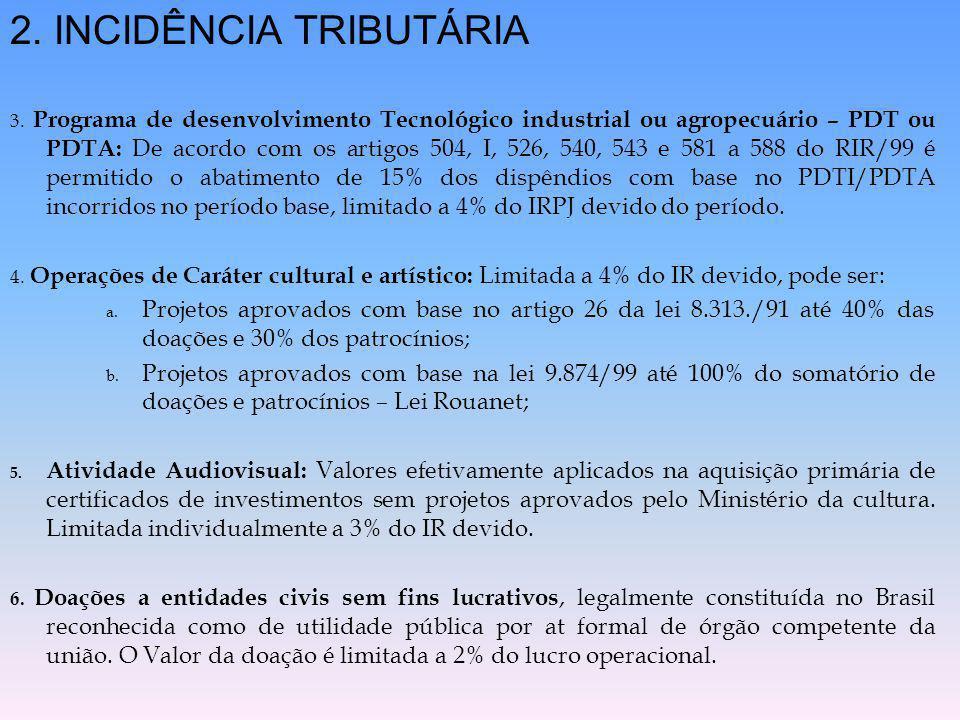 2. INCIDÊNCIA TRIBUTÁRIA 3. Programa de desenvolvimento Tecnológico industrial ou agropecuário – PDT ou PDTA: De acordo com os artigos 504, I, 526, 54