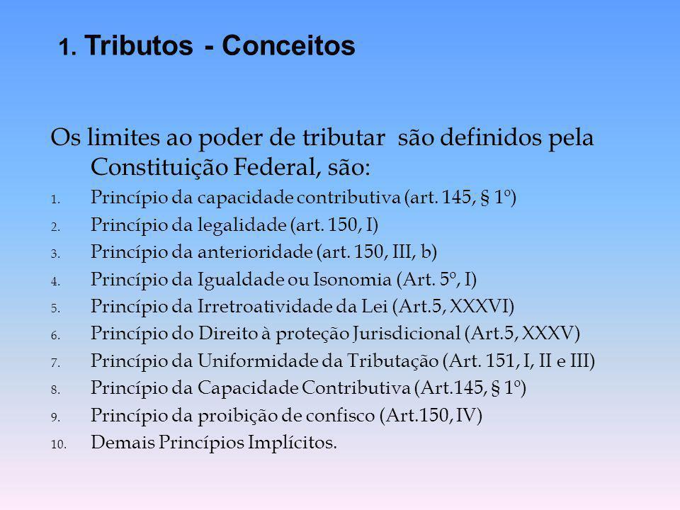 Os limites ao poder de tributar são definidos pela Constituição Federal, são: 1. Princípio da capacidade contributiva (art. 145, § 1º) 2. Princípio da