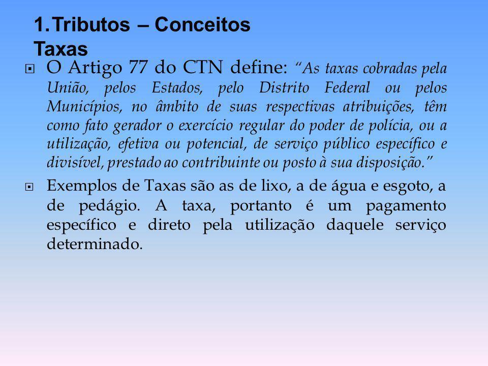 """ O Artigo 77 do CTN define: """"As taxas cobradas pela União, pelos Estados, pelo Distrito Federal ou pelos Municípios, no âmbito de suas respectivas at"""