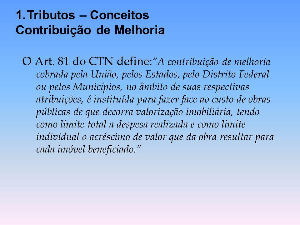 """O Art. 81 do CTN define: """"A contribuição de melhoria cobrada pela União, pelos Estados, pelo Distrito Federal ou pelos Municípios, no âmbito de suas r"""