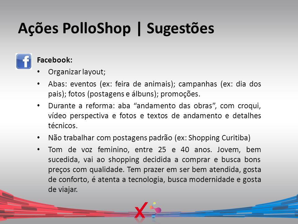Ações PolloShop | Sugestões Facebook: Organizar layout; Abas: eventos (ex: feira de animais); campanhas (ex: dia dos pais); fotos (postagens e álbuns)