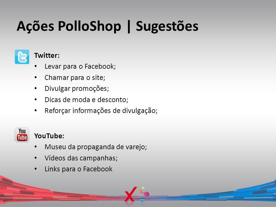 Ações PolloShop | Sugestões Twitter: Levar para o Facebook; Chamar para o site; Divulgar promoções; Dicas de moda e desconto; Reforçar informações de
