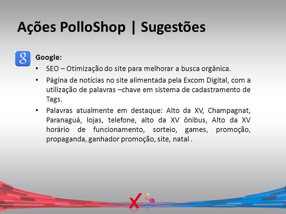 Ações PolloShop | Sugestões Google: SEO – Otimização do site para melhorar a busca orgânica. Página de notícias no site alimentada pela Excom Digital,