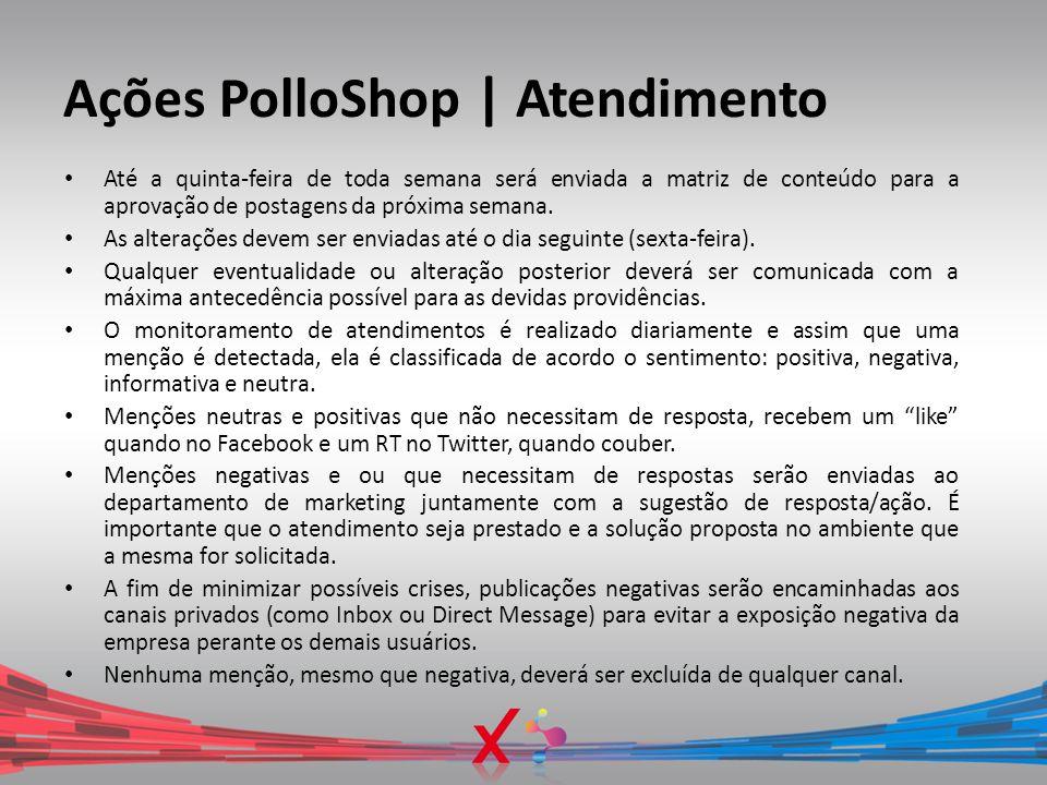 Ações PolloShop | Atendimento Até a quinta-feira de toda semana será enviada a matriz de conteúdo para a aprovação de postagens da próxima semana. As