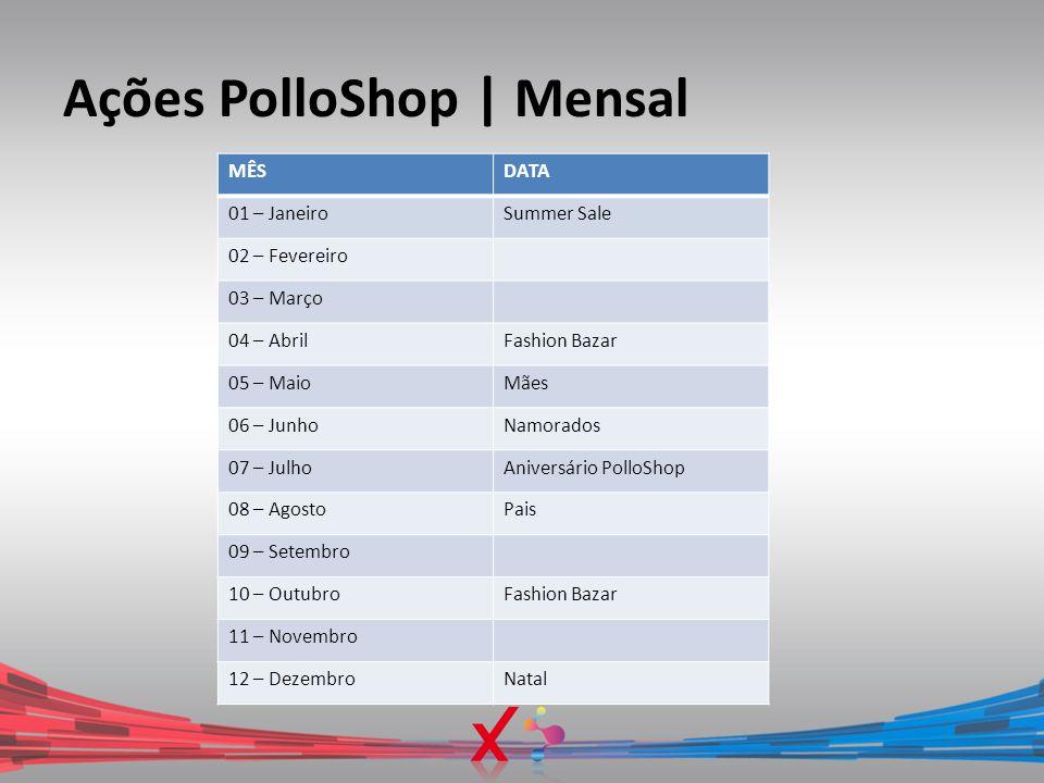 Ações PolloShop | Mensal MÊSDATA 01 – JaneiroSummer Sale 02 – Fevereiro 03 – Março 04 – AbrilFashion Bazar 05 – MaioMães 06 – JunhoNamorados 07 – Julh