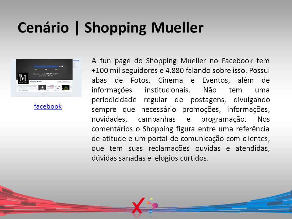 Cenário | Shopping Mueller facebook A fun page do Shopping Mueller no Facebook tem +100 mil seguidores e 4.880 falando sobre isso. Possui abas de Foto