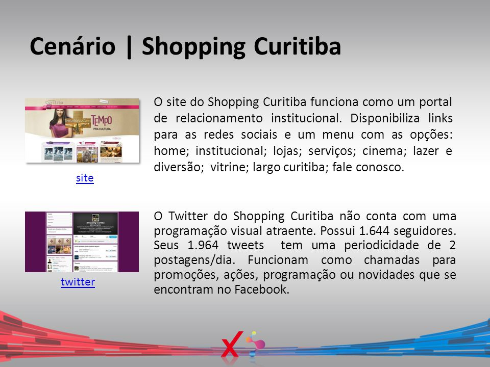 Cenário | Shopping Curitiba O site do Shopping Curitiba funciona como um portal de relacionamento institucional. Disponibiliza links para as redes soc