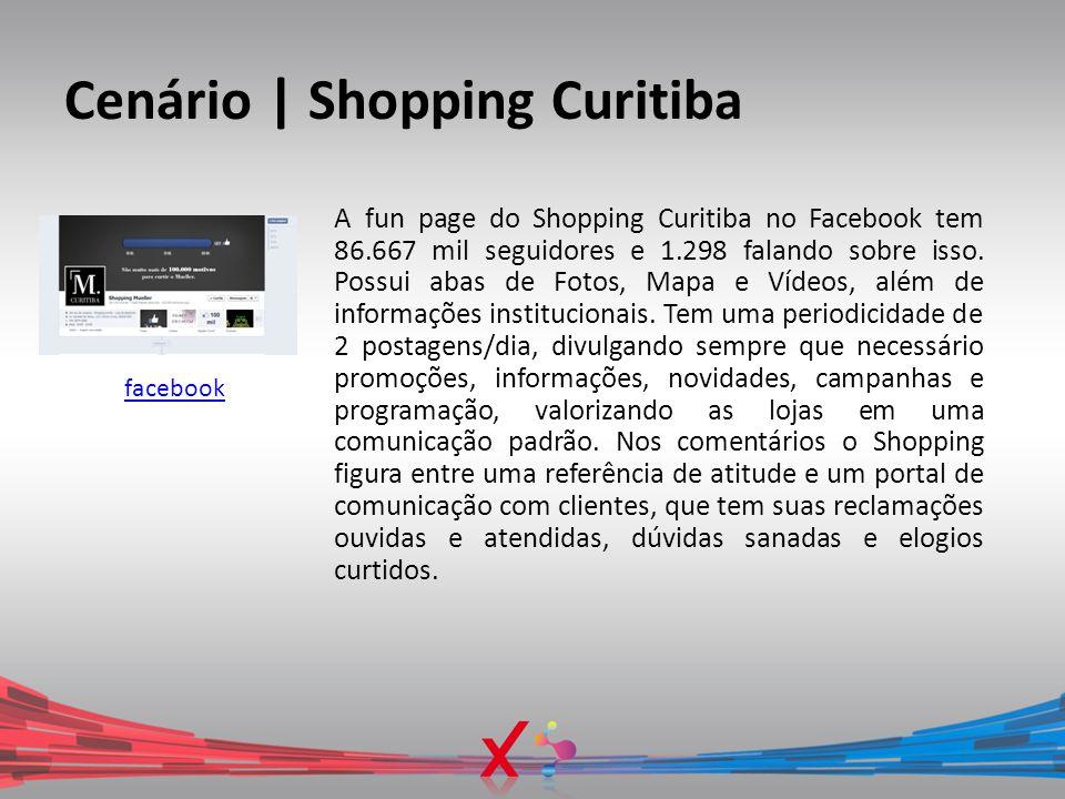Cenário | Shopping Curitiba facebook A fun page do Shopping Curitiba no Facebook tem 86.667 mil seguidores e 1.298 falando sobre isso. Possui abas de
