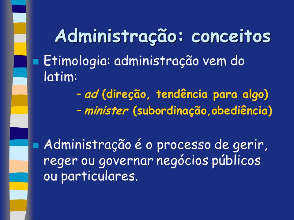Administração: conceitos n Etimologia: administração vem do latim: –ad (direção, tendência para algo) –minister (subordinação,obediência) n Administra