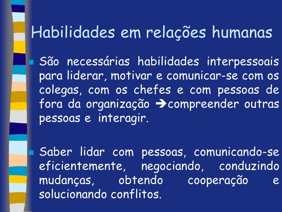 Habilidades em relações humanas n São necessárias habilidades interpessoais para liderar, motivar e comunicar-se com os colegas, com os chefes e com p