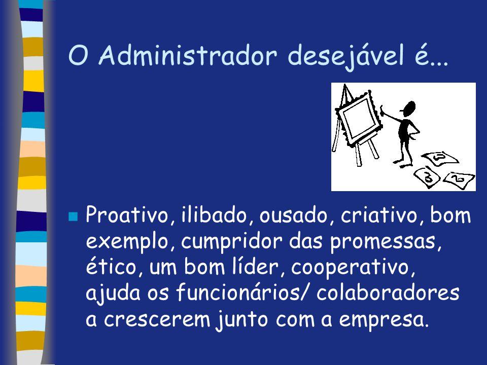 O Administrador desejável é... n Proativo, ilibado, ousado, criativo, bom exemplo, cumpridor das promessas, ético, um bom líder, cooperativo, ajuda os