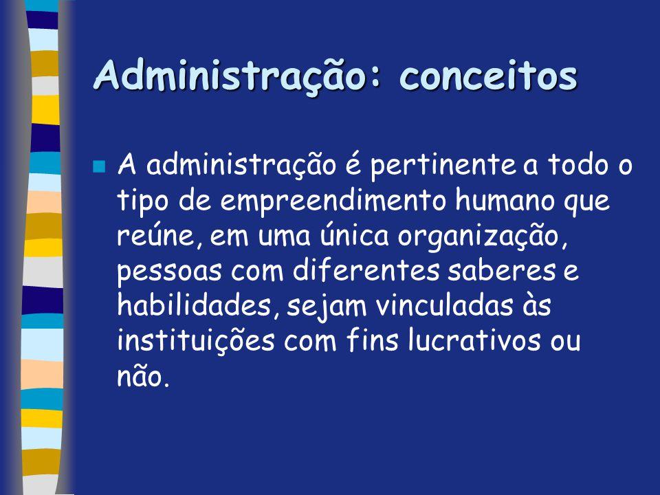 Administração: conceitos n A administração é pertinente a todo o tipo de empreendimento humano que reúne, em uma única organização, pessoas com difere