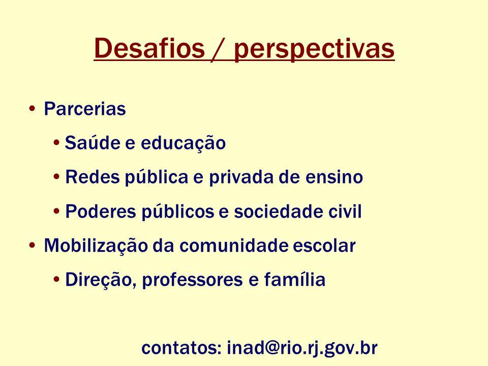 Desafios / perspectivas Parcerias Saúde e educação Redes pública e privada de ensino Poderes públicos e sociedade civil Mobilização da comunidade escolar Direção, professores e família contatos: inad@rio.rj.gov.br