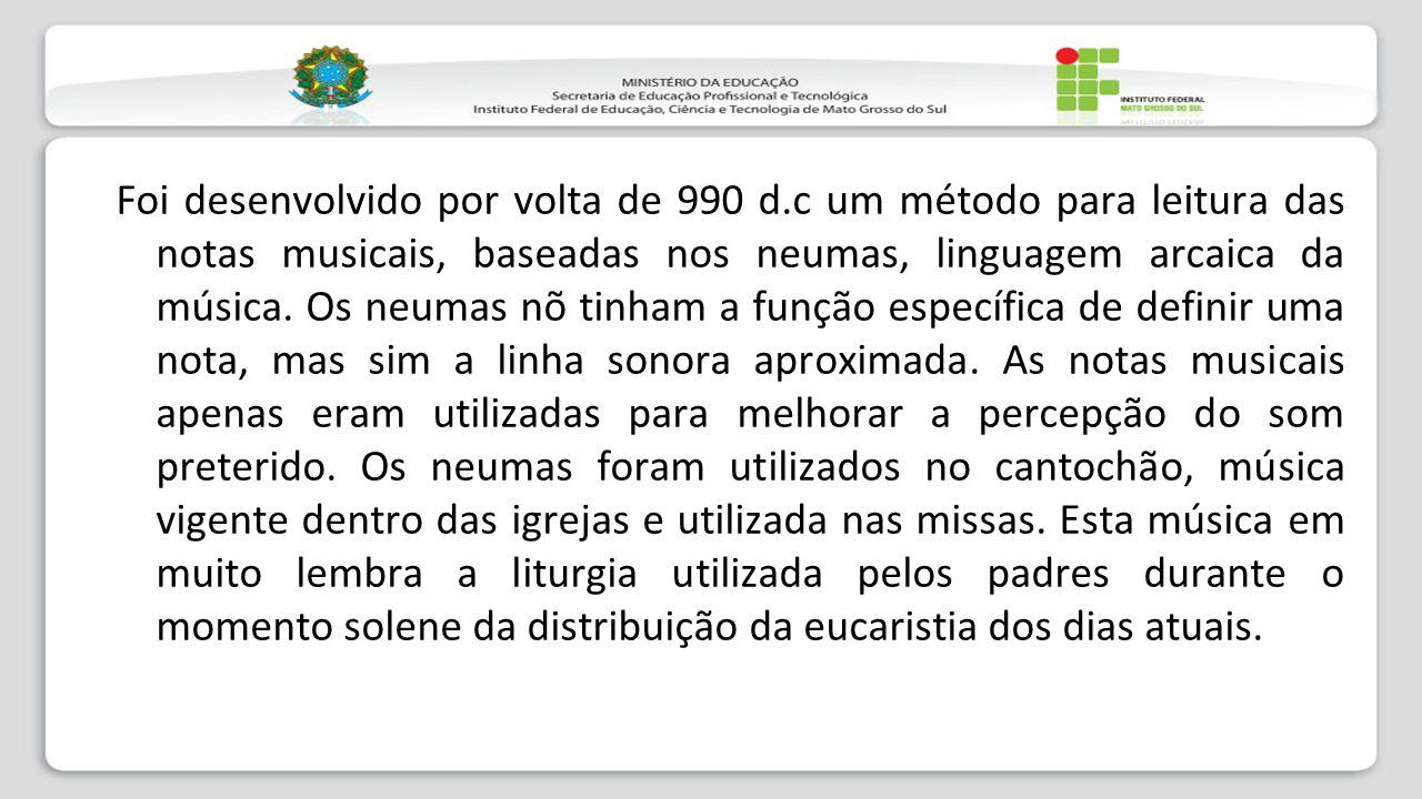 Foi desenvolvido por volta de 990 d.c um método para leitura das notas musicais, baseadas nos neumas, linguagem arcaica da música. Os neumas nõ tinham