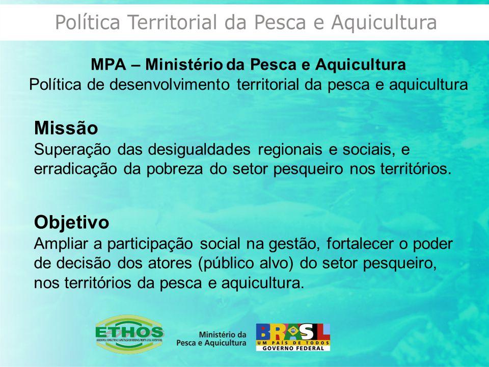 MPA – Ministério da Pesca e Aquicultura Política de desenvolvimento territorial da pesca e aquicultura Missão Superação das desigualdades regionais e sociais, e erradicação da pobreza do setor pesqueiro nos territórios.