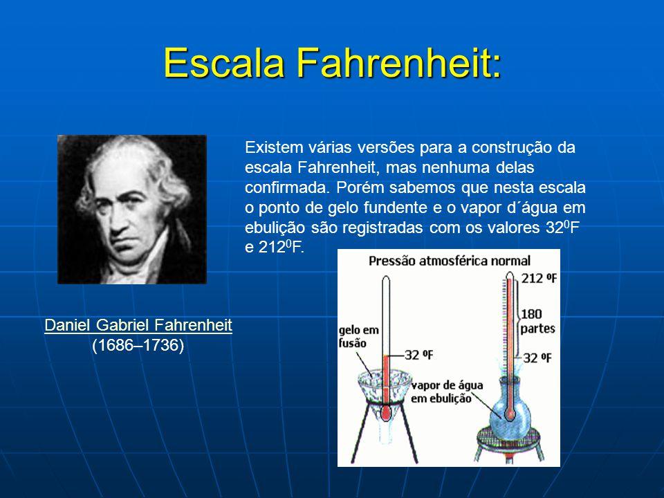 Escala Fahrenheit: Daniel Gabriel Fahrenheit Daniel Gabriel Fahrenheit (1686–1736) Existem várias versões para a construção da escala Fahrenheit, mas
